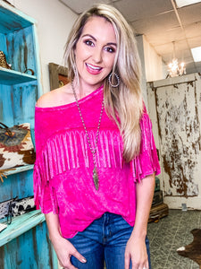 Frisco Fringe Mineral Wash Top in Pink
