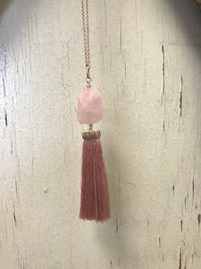 Rose Quartz Tassel Necklace