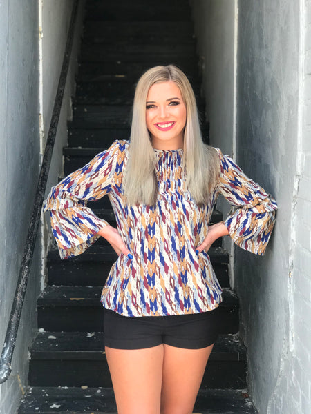 Amarillo Aztec Print Top