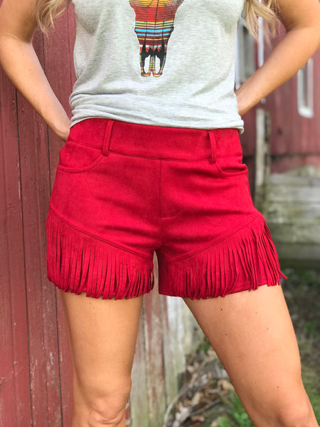 Any Fringe of Mine Red Shorts