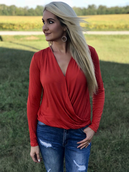 Villa Drape Top in Red