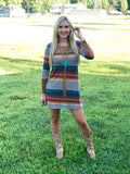 Autumn Striped Dress with Suede