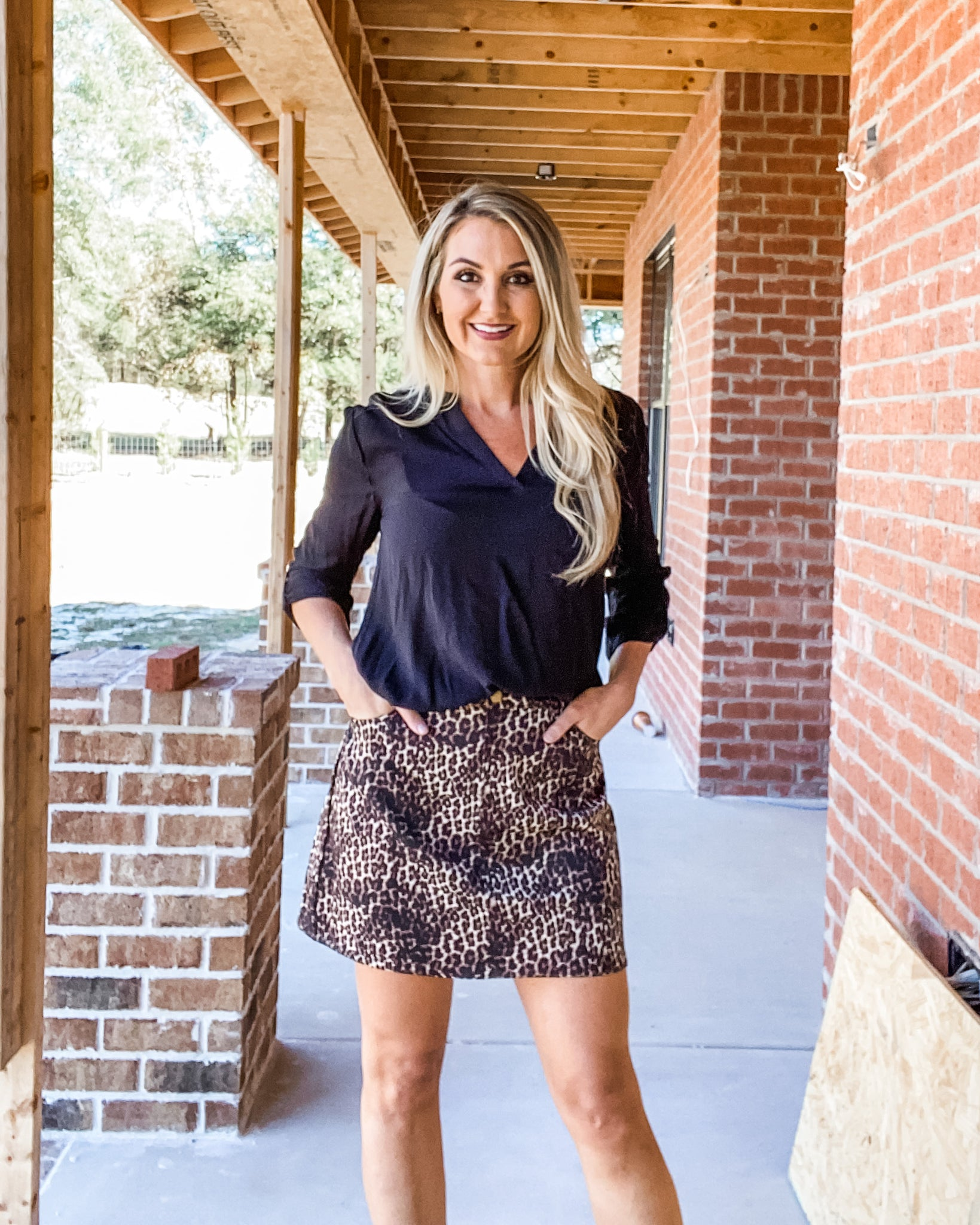 Sunset Boulevard Leopard Denim Skirt