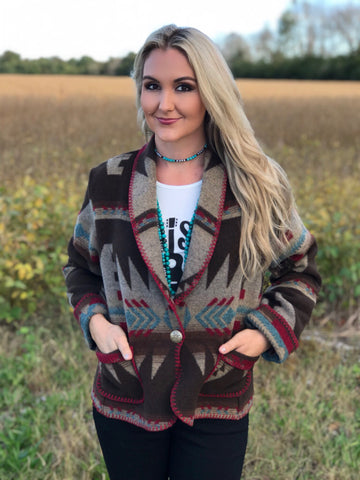 The Rhonda Aztec Fleece Jacket - MEDIUM ONLY