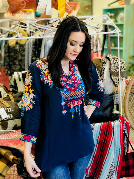 Wildflower Embroidered Floral Top in Navy