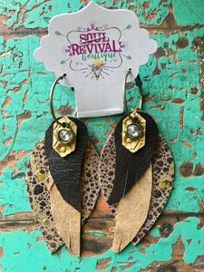 Feather Glitz Earrings in Gold Crystal