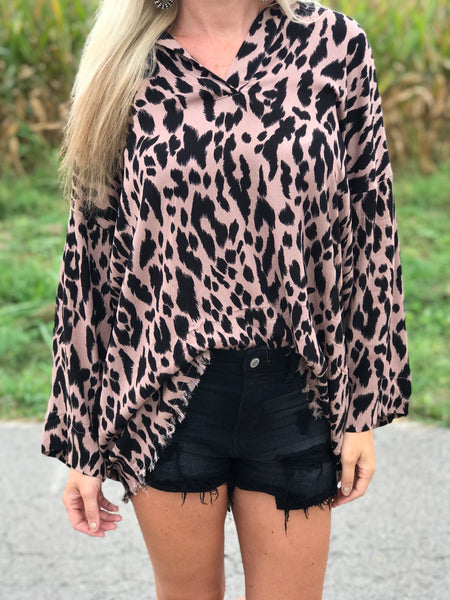 Mocha Mama Leopard Button Up Top