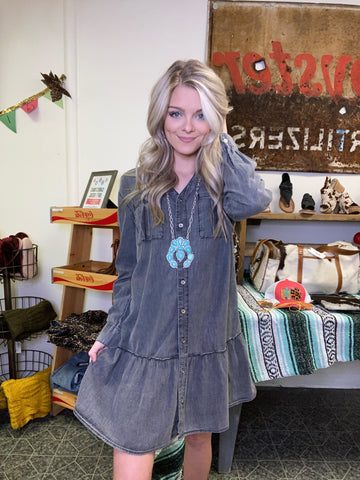 Asheville Denim Dress in Gray
