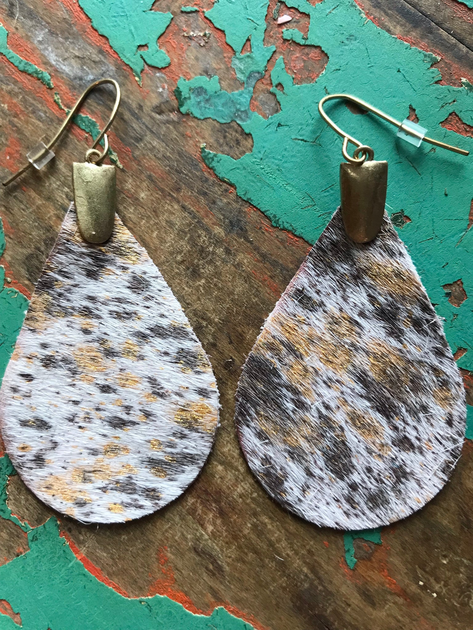 Happy Heifer Gold Hair on Hide Earrings