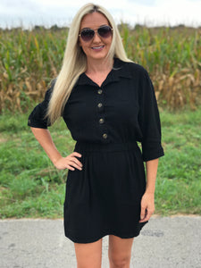 Real Estate Cargo Dress in Black