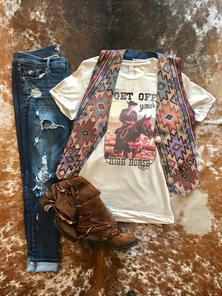 Vintage Wild One Aztec Vest - Medium