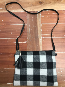 Buffalo Plaid Crossbody Handbag in White Check