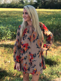 Fall in Love Floral Taupe Dress
