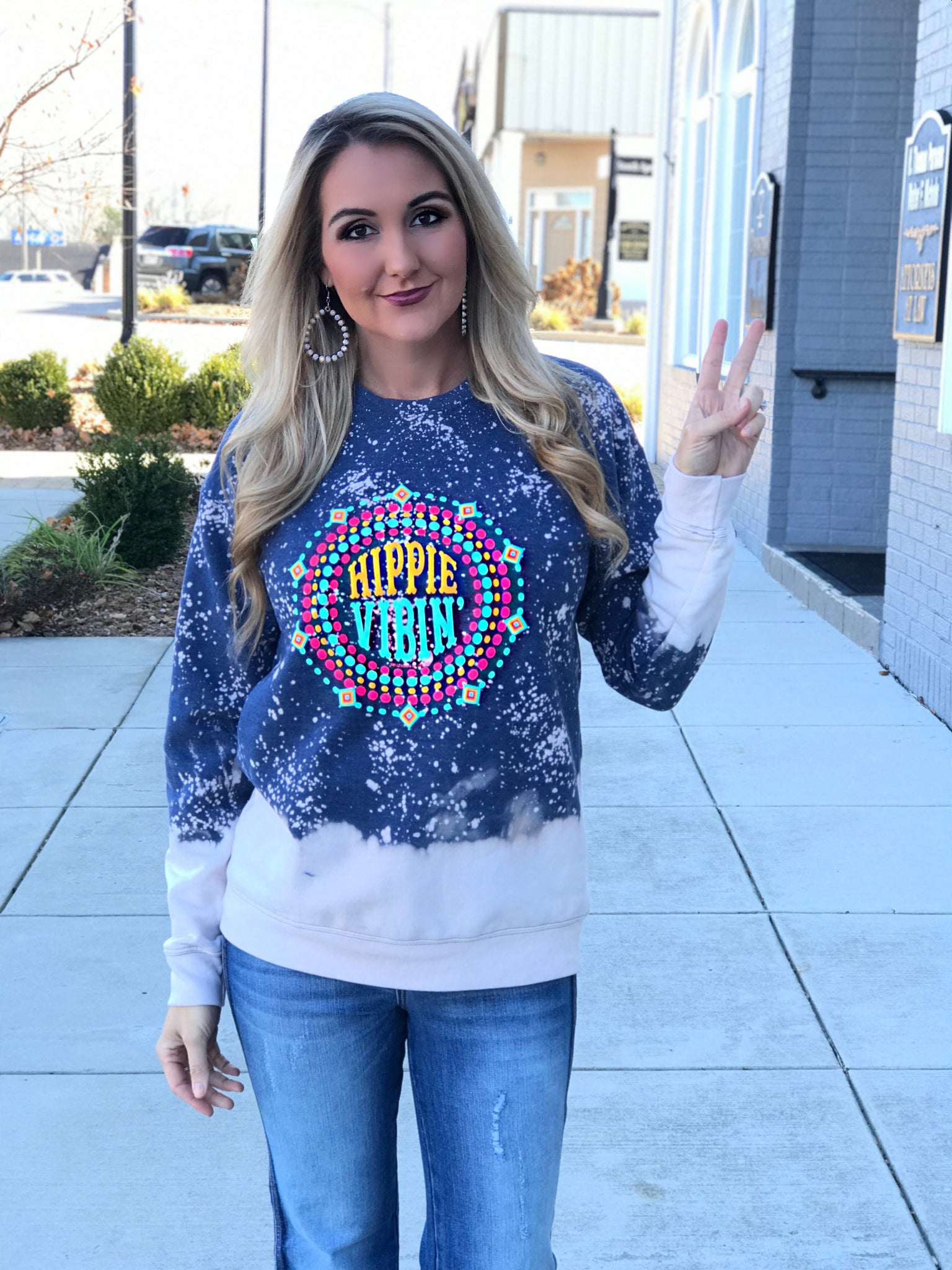 Hippie Vibin' Distressed Sweatshirt