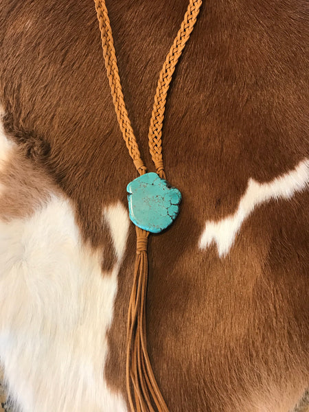Leather & Turquoise Bolo