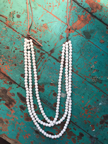 Mozelle White Beaded Layered Necklace & Earrings