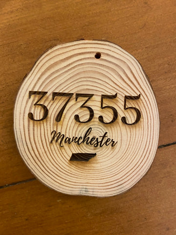 Zip Code Wooden Ornament
