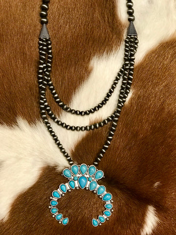 Squash Blossom Naja Necklace in Turquoise