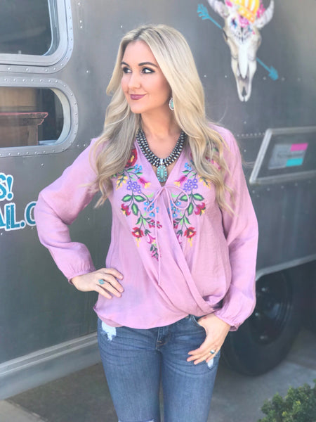 Lavender Fields Embroidered Top