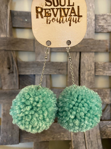Pom Pom Earrings in Mint