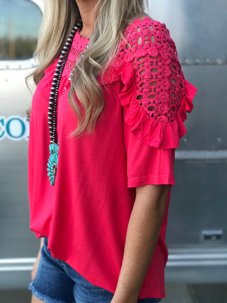 Great Falls Crochet Top in Coral