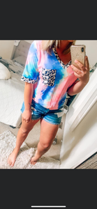 Rainbow Bright Leopard Tie Dye Top