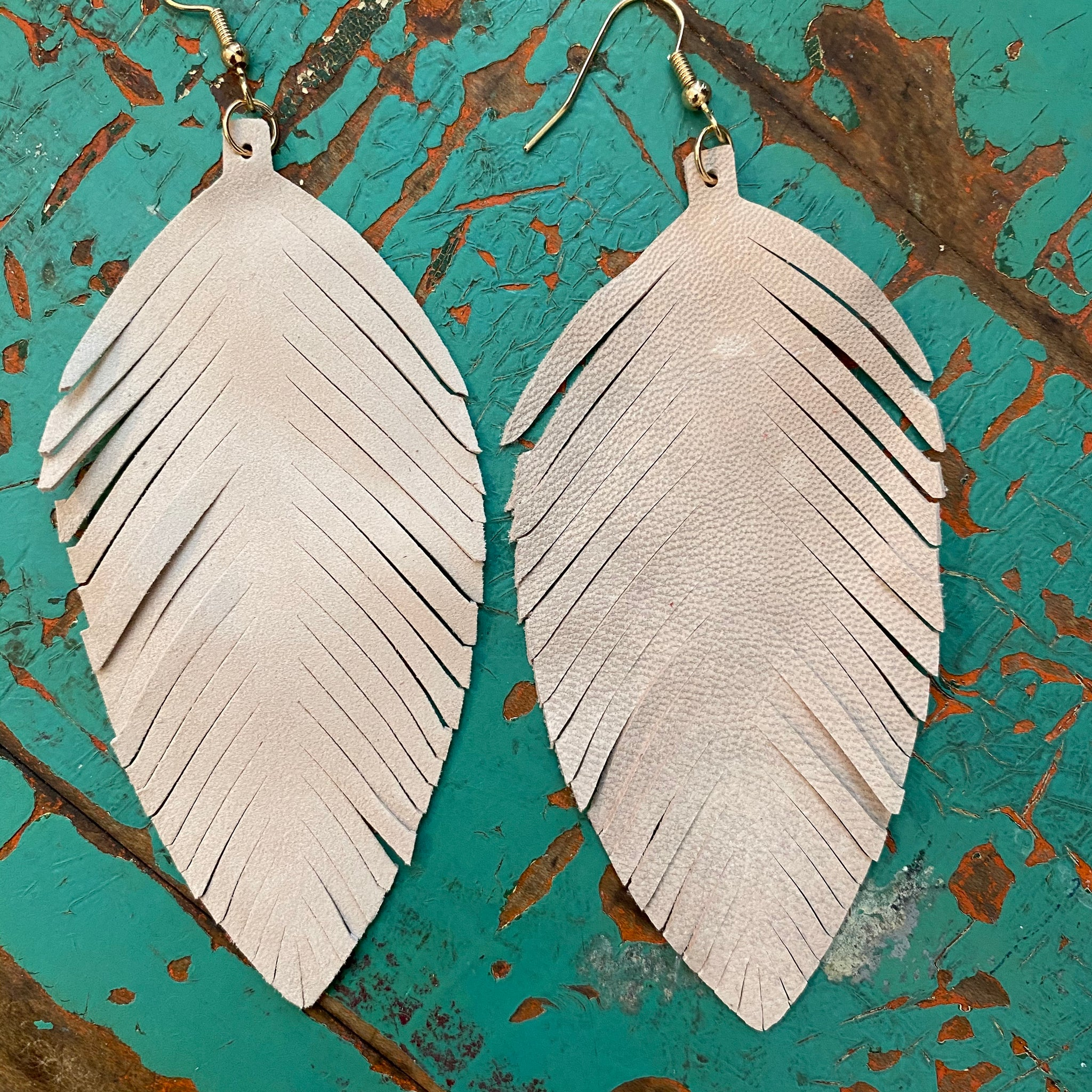 Fall Feather Earrings in Beige