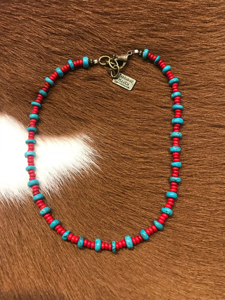 Red & Turquoise Beaded Choker