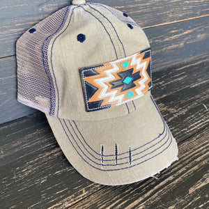 Khaki Aztec Patch Ball Cap