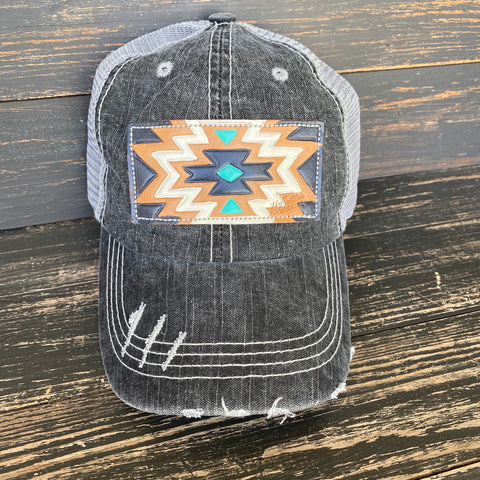 Charcoal Aztec Print Leather Patch Ball Cap