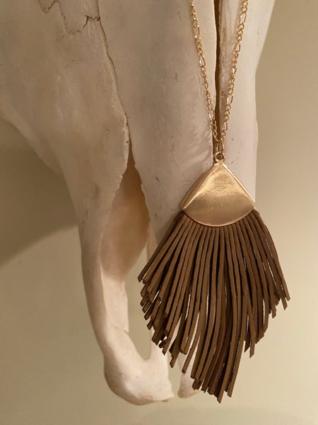 Leather Fan Necklace in Tan