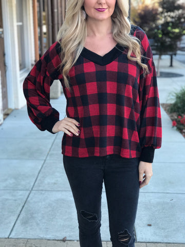 Merry Buffalo Plaid Top in Black & Red