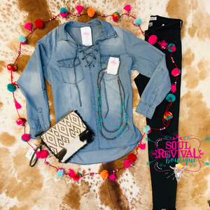 Coweta Lace Up Denim Top