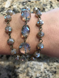 Three Strand Beaded Bracelet (Available in Mocha, Milkglass, & Blue AB)