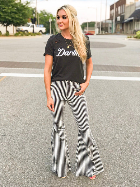Jailhouse Denim Black and White Bells