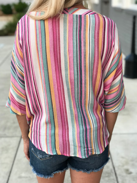 Destin Stripe Button Down Tie Top