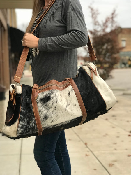 Leather Animal Print Duffle Bag