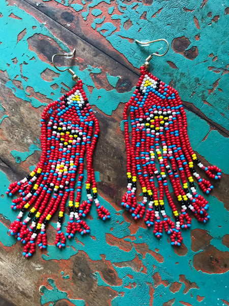 Texicana Red Beaded Fringe Earrings