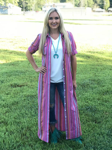Pink Sunset Serape Duster Dress