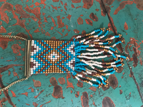 Plano Seed Bead Necklace in Turquoise