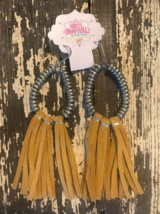 Lyla Leather Fringe Earrings in Mustard