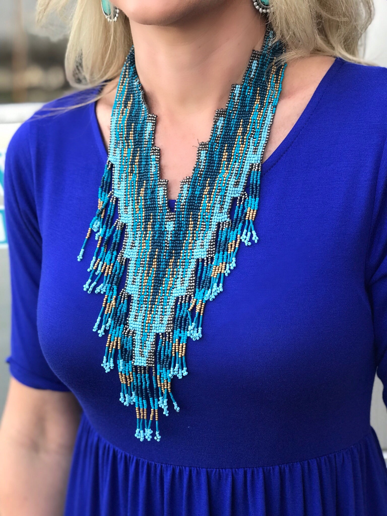Mesa Seed Bead Necklace in Blue