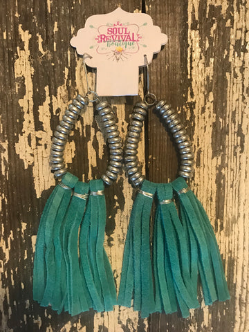 Lyla Leather Fringe Earrings in Turquoise