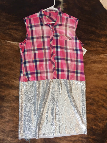 BBB - Jezebel Silver Sequin Duster (Size L)