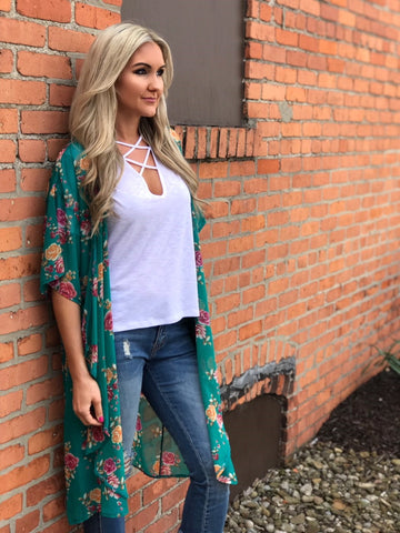 Tyler Turquoise Floral Duster