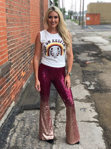 Saturday Night Live Sequin Bells in Burgundy & Gold