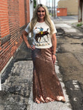 Rose Gold Magic Maxi Sequin Skirt