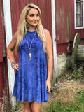 Colby Paisley Print Tie Dye Dress in Blue