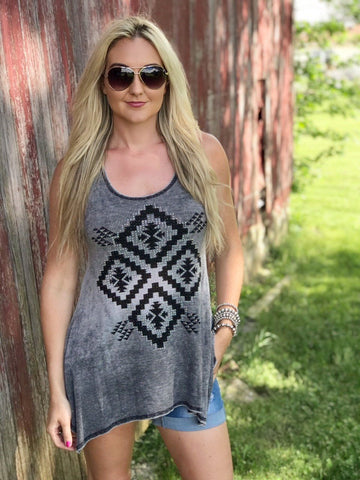 Tecante Aztec Studded Tank in Black