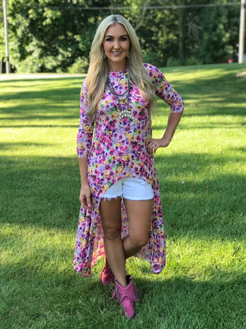 Collier Fuchsia Floral High Low Top